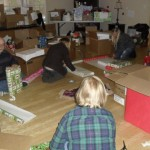 Wrapping the gifts for each child from CnK