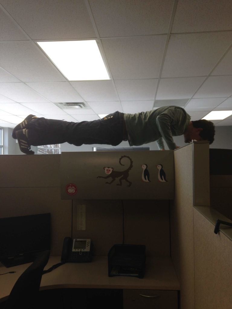 Martin doing cubicle push-ups