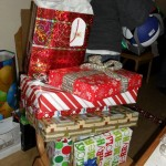 Some of the wrapped gifts
